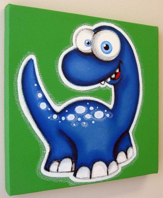 Blu T-ReX dinosauro 12 x 12 originale dipinto di art4barewalls