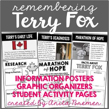Terry Fox: This pack contains information and activities that will help your primary-aged students learn about Terry Fox.It includes information about Terrys early life, his cancer diagnosis, the Marathon of Hope, and his lasting legacy.Information posters allow your students to see Terry Fox in action, as well as the lasting impact he has had on Canada and the world.