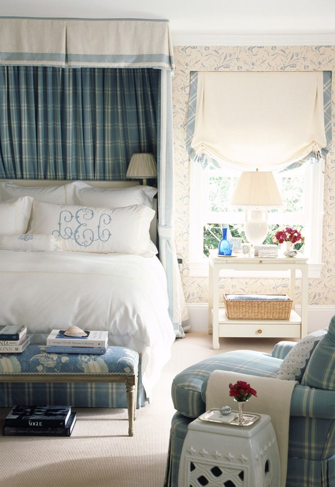 love the monogrammed shams, not to mention the romans, and the soothing colors in this dreamy bedroom