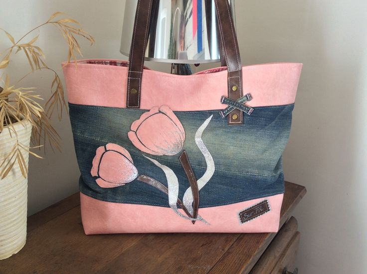 sac le tulipe rose en jean et simili : Sacs à main par sur-fil
