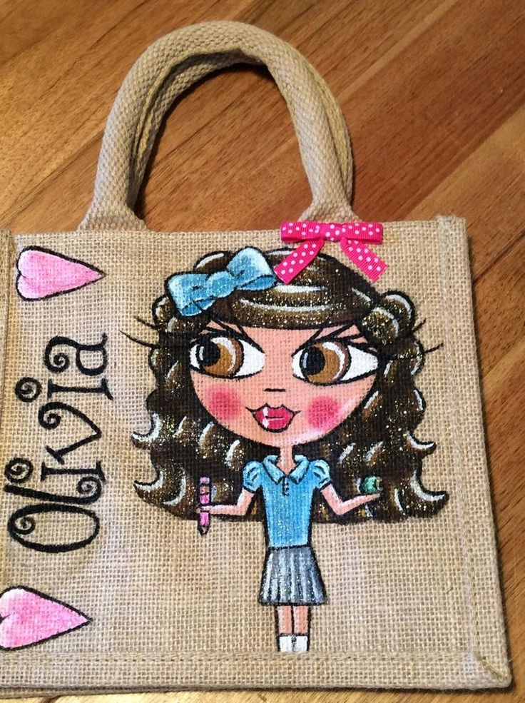 hand painted personalised jute Child School Lunch bags