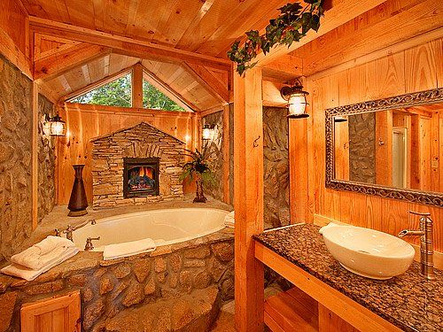 89 best images about log home bath ideas on pinterest for Log cabin bathroom design ideas