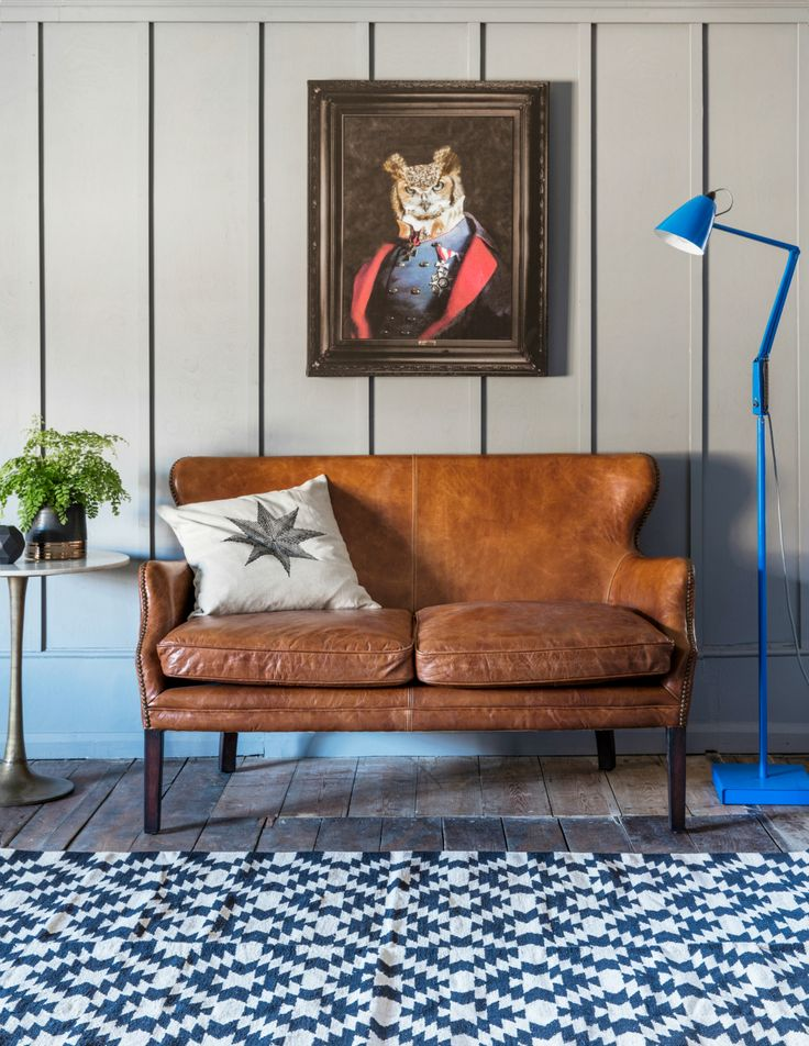 The owl painting. love it. Havana Brown Leather Sofa. Buy online now from Rose and Grey, eclectic home accessories and stylish furniture for vintage and modern living.