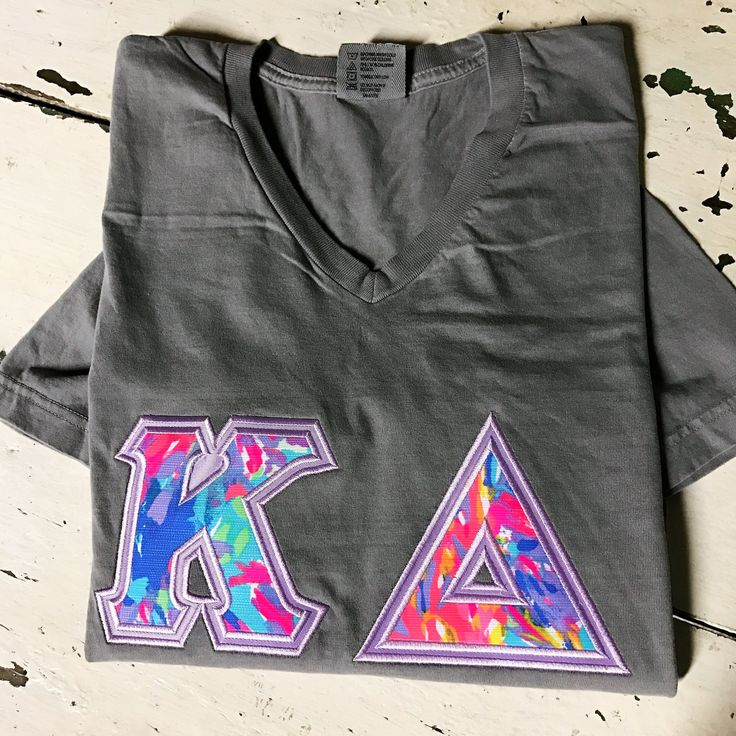 Sorority Letter Shirt - Lilly Pulitzer Fabric Kappa Delta by AuntieJsDesigns on Etsy
