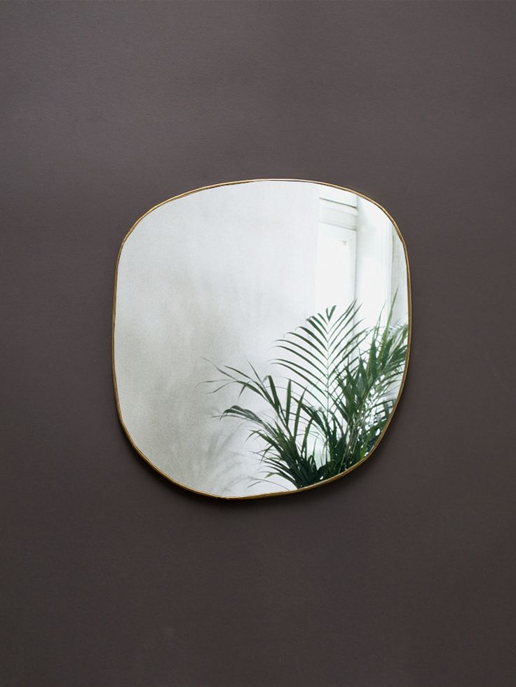 Ame Hand Crimped Brass Mirror 34x36 cm, Caravane
