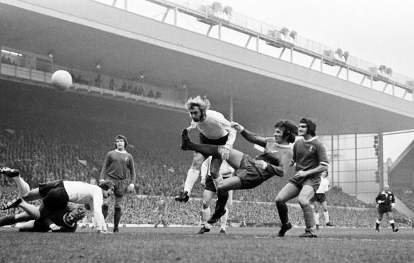 October 21st 1972: Jimmy Greenhoff scores against Liverpool at Anfield.