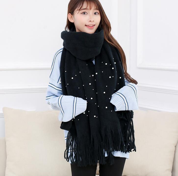 Autumn Winter Solid Color Pearl Add Thick Knitted Warm Woolen Scarf Hot