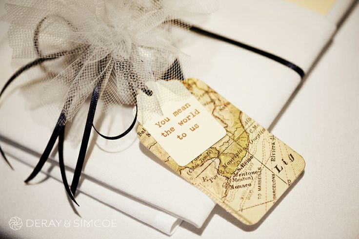 Sweet world map thank you tags. Travel themed wedding reception styling, ideas and inspiration.  Reception Venue: UWA Club  Photography by DeRay & Simcoe