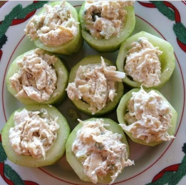 put your tuna salad in cucumber instead of bread to make it a little healthier! yum!