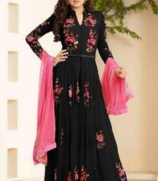 patiala salwar suits Buy Black georgette embroidered semi stitched salwar with dupatta anarkali-salwar-kameez online