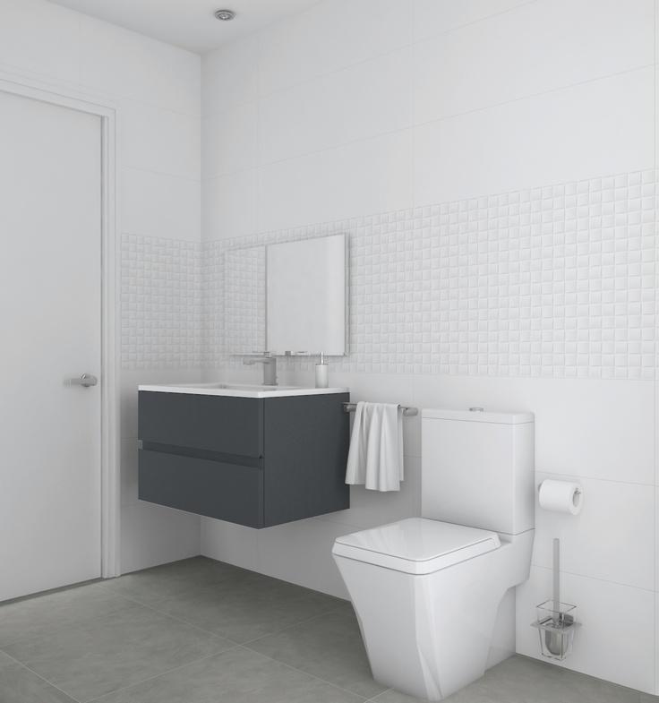 Baño diseñado por Fábrica de Arquitectura para una vivienda unifamiliar en una urbanización de Carmona (Sevilla). Tanto los materiales como los aparatos sanitarios son de Porcelanosa.