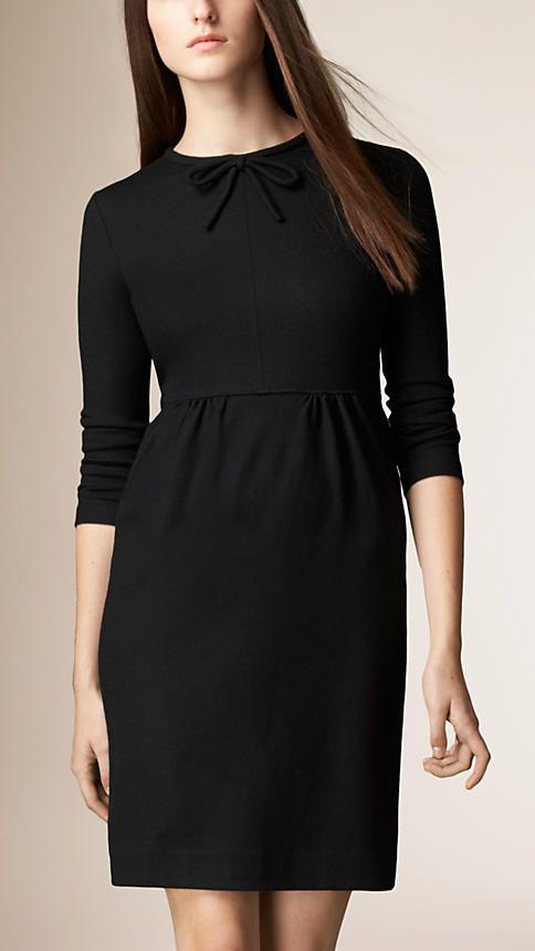 Black Bow Detail Wool Dress - Image 1