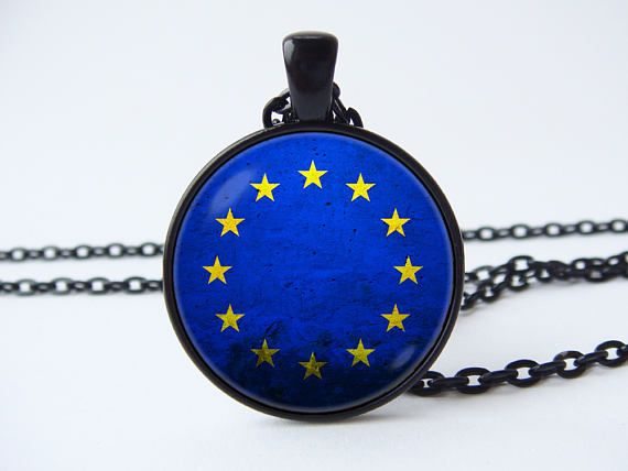 European Union Men necklace EU flag jewelry Europe necklace Blue Stars Flag pendant EU necklace Unisex gift European Flags Gift for him/her  Pendant size: 1 inch (2.5cm) Jewelry is made up of metal base, chain, glass lens and print.  With the pendant comes a chain of the same color. In