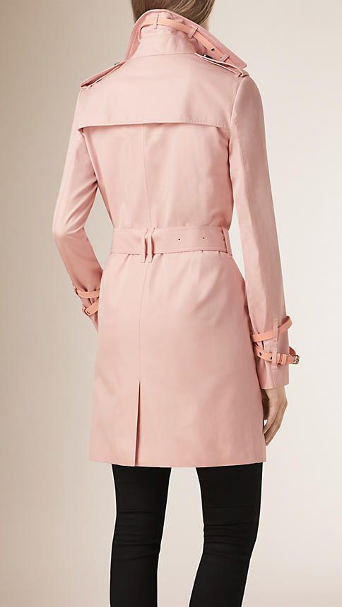 Ice pink Leather Trim Cotton Gabardine Trench Coat - Image 3