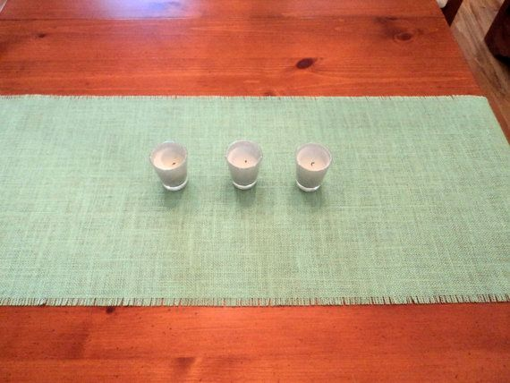 Mint Table Runner 14 Wide Burlap Table Runner by theruffleddaisy