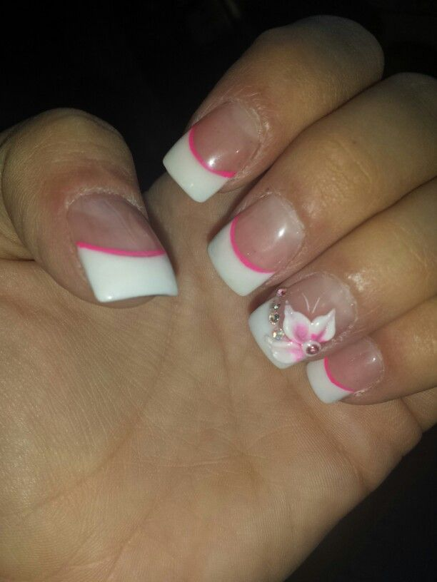 french tips with a pink line under and a 3d flower get