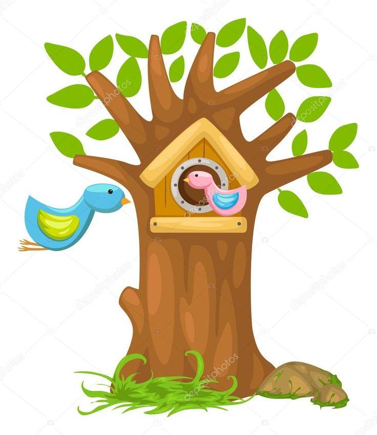 Ladda Ner - Tecknad fågelholk — Stockillustration #43414299
