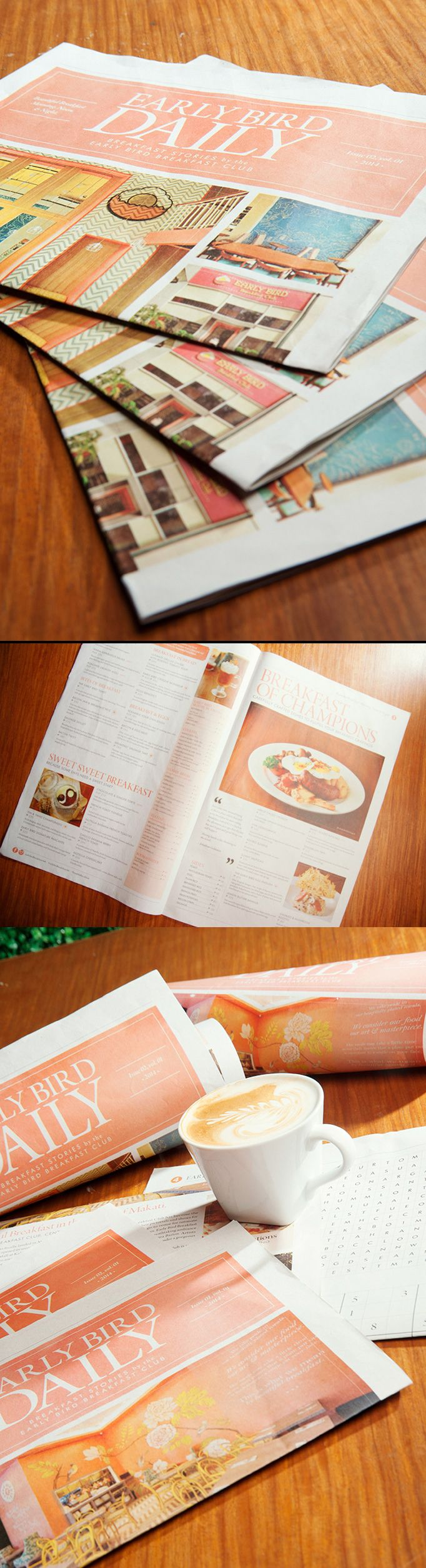 Loving this newspaper concept for menus. This particularly works for the restaurant's brunch menu. Designed by: Antidote Brand Divergence Inc.: http://www.antidotebranding.com/ #designisvital http://www.paliosdesign.com