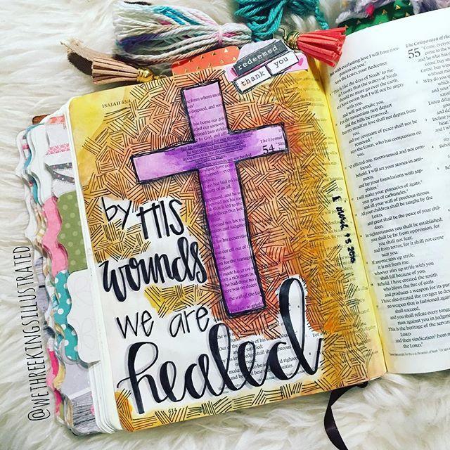Bible Journaling by Kaylee King @wethreekingsillustrated | Isaiah 53:5