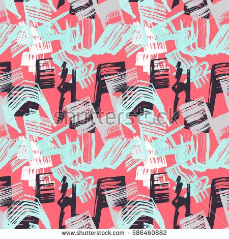 Hand draw vector seamless pattern with brush strokes and scribble. Pink, blue and black colors. Abstract background for brochure, poster, presentation, card, web, magazines, wallpapers.