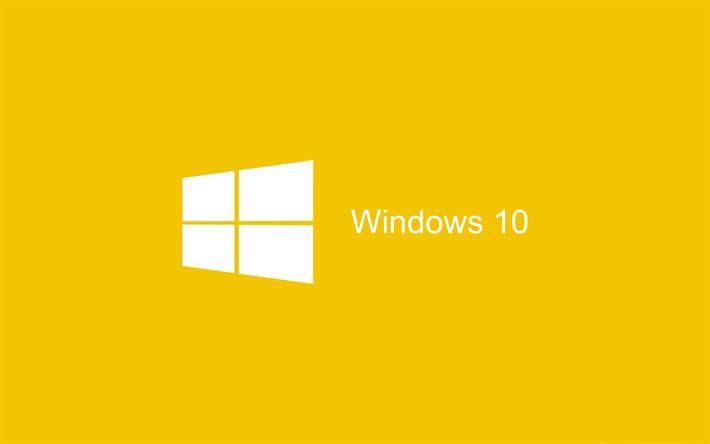 Download wallpapers Windows 10, minimal, art, yellow background, logo, Windows 10 logo, Microsoft