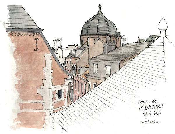 Sketch / urban sketching, (c) Gerard Michel. Nice composition with the minimally defined/colored foreground.