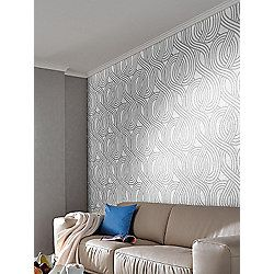 Carat Geometric Glitter Wallpaper - White and Silver - 113345-20