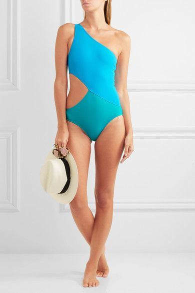 Araks - Elmar One-shoulder Cutout Two-tone Swimsuit - Turquoise - x small