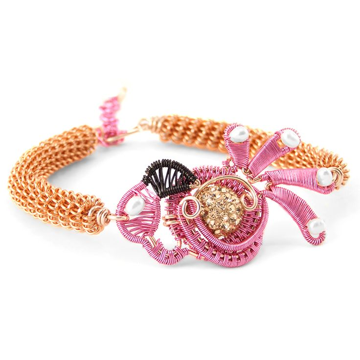 Flamingo wire wrap bracelet