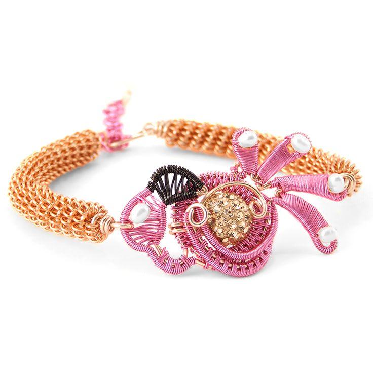 Flamingo wire wrap bracelet