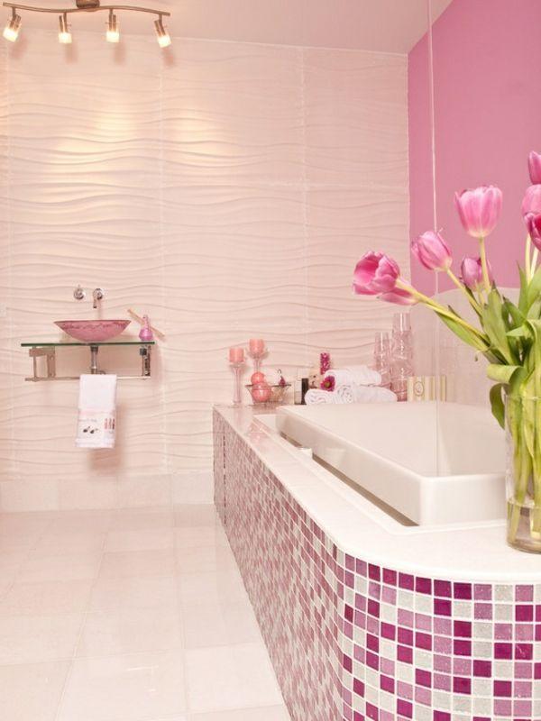 Attraktive Fliesen Fur Die Badewanne Rosa Badezimmer Bad Mosaik Badezimmerideen