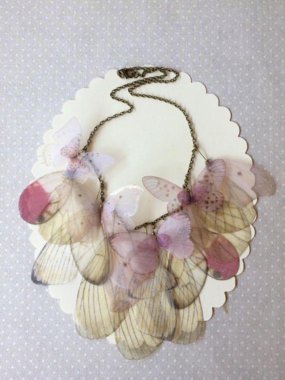 Handmade Necklace with Ivory and Pink Silk Organza Butterflies