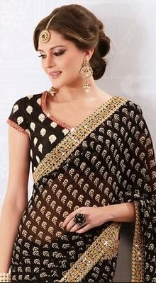 Sparkling Black Embroidered Saree