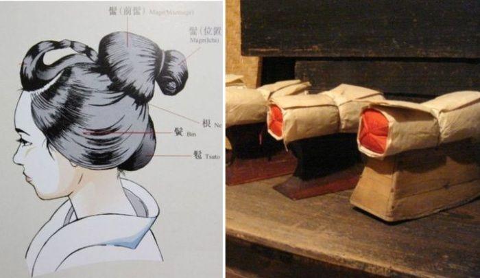 Такамакура - деревянная подставка для шеи вместо подушки. Традиционные японские прически делаются с использование расплавленного воска.