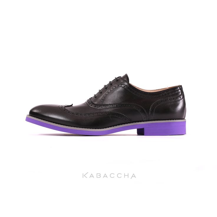 Kabaccha Shoes // Black Nappa Leather & Grey/ Purple Sole Wingtip #KabacchaShoes #Wingtips