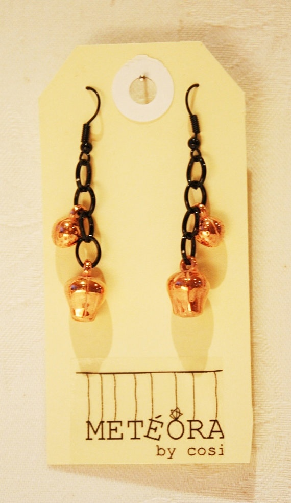 Copper Beads on Black Chain by meteorabycosi on Etsy, $8.00