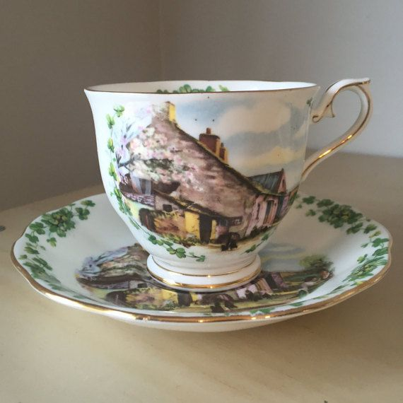 """Royal Albert """"Londonderry Air"""" Vintage Teacup and Saucer, Traditional British Songs Series, Green Shamrock Tea Cup and Saucer, English China"""