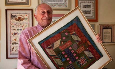 After six months held by the Nazis in a prisoner of war camp, Major Alexis Casdagli was handed a piece of canvas by a fellow inmate. Pinching red and blue thread from a disintegrating pullover belonging to an elderly Cretan general, Casdagli passed the long hours in captivity by painstakingly creating a sampler in cross-stitch. Around decorative swastikas and a banal inscription saying he completed his work in December 1941, the British officer stitched a border of irregular dots and dashes…