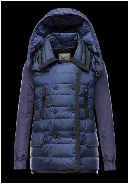 Doudoune Moncler JACKET manteaux hiver femme hooded bleu