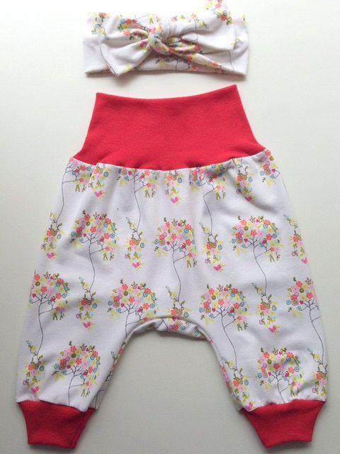 Floral Baby Harem Pants plus matching Headband