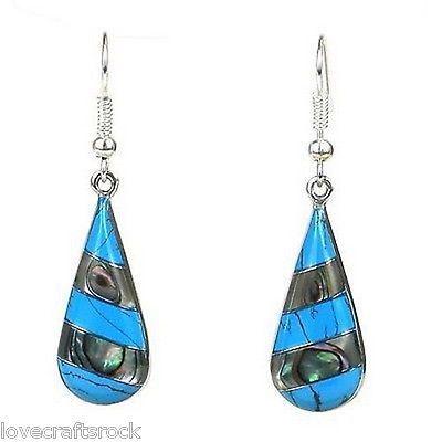 Silver-Earrings-Handmade-Dangling-Jewelry-Long-Turquoise-Abalone-Alpaca-Teardrop