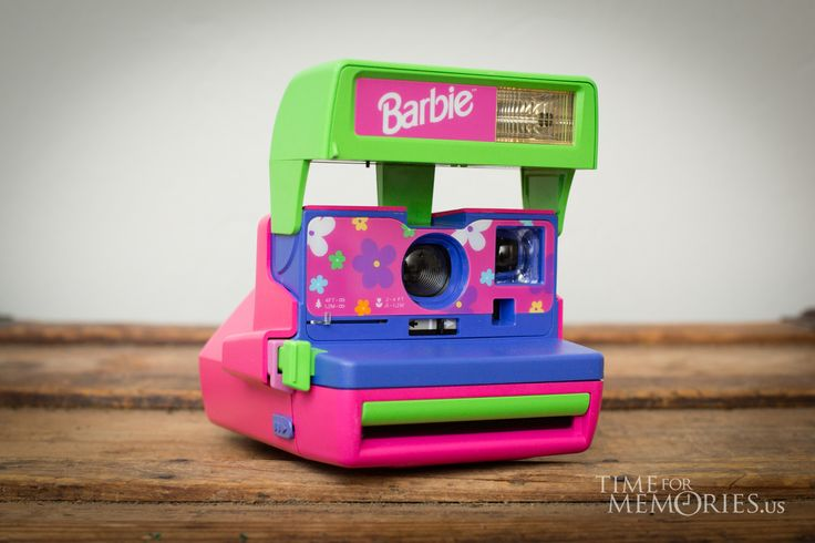 Vintage late 90s Barbie Polaroid camera for 600 instant film. A great Mattel doll branded collectible memory!