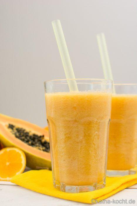 Papaya-Orange Smoothie mit Honigmelone - katha-kocht!