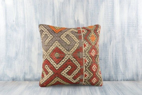 Bohemian Kilim Pillow 16x24 Carpet Pillow Cover Turkey Pillow Floor Cushion Cover Decorative Turkish Kilim Pillow Boho Sham Cover