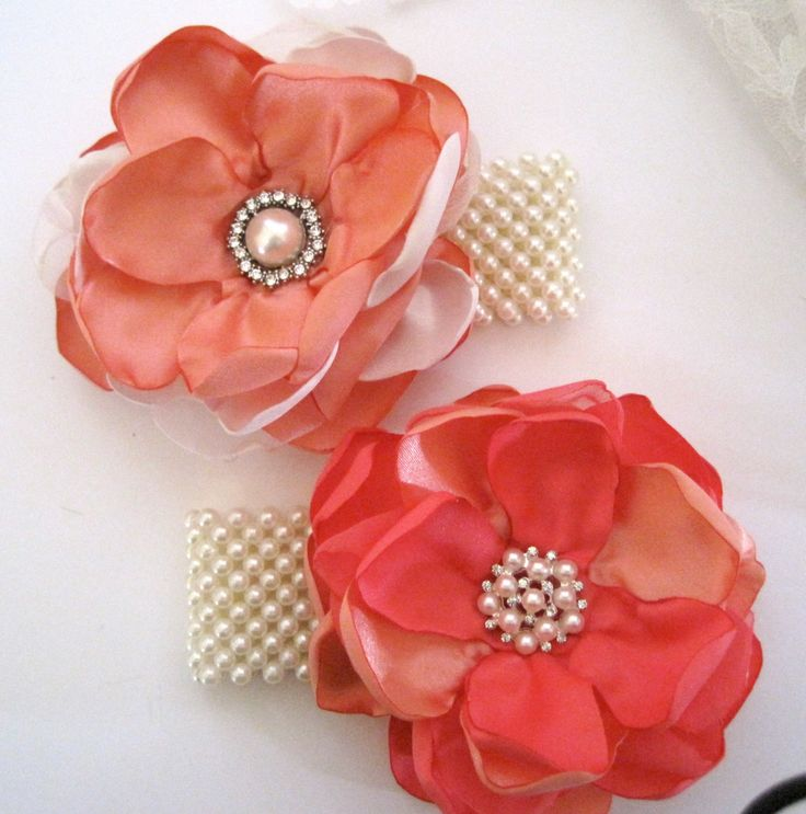Peach and Ivory or Peach and Coral Pearl Wrist Corsage Cuff Bracelet Bride Bridesmaid Mother of the Bride with Pearl and Rhinestone Accents.. $28.00, via Etsy.