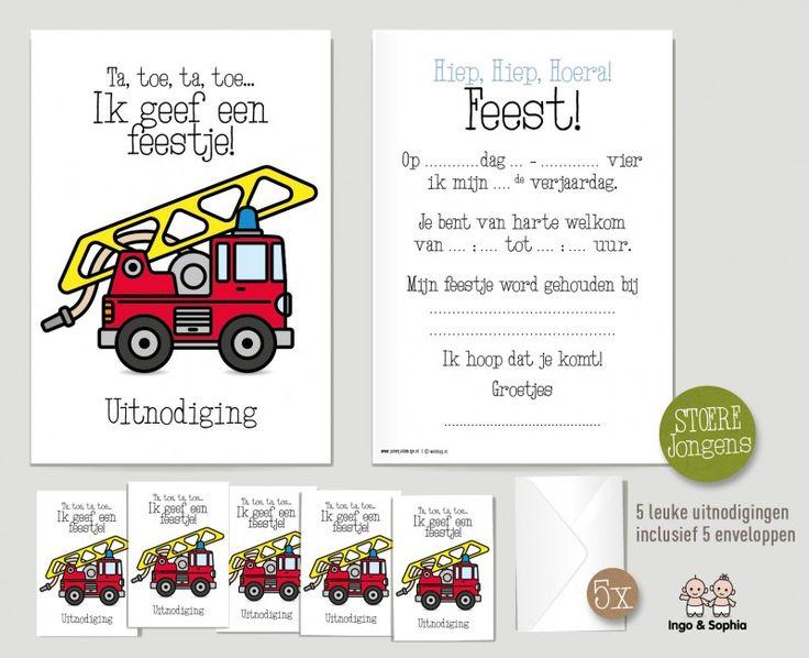 Uitnodiging Verjaardag Stoere Brandweerman Jongen