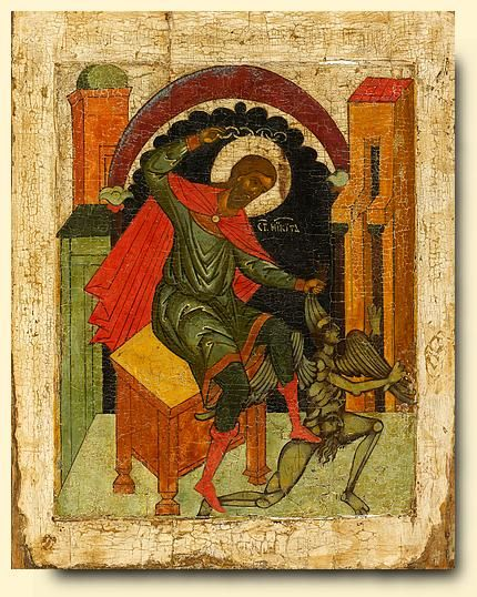 Saint Nikita - exhibited at the Temple Gallery, specialists in Russian icons