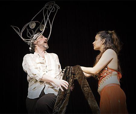 "Brian Tudor Leeds as Bottom and Rachel Lemos as Titania in MCCC Academic Theatre Company's presentation of""A Midsummer Night's Dream"" April 1-10, 2016."