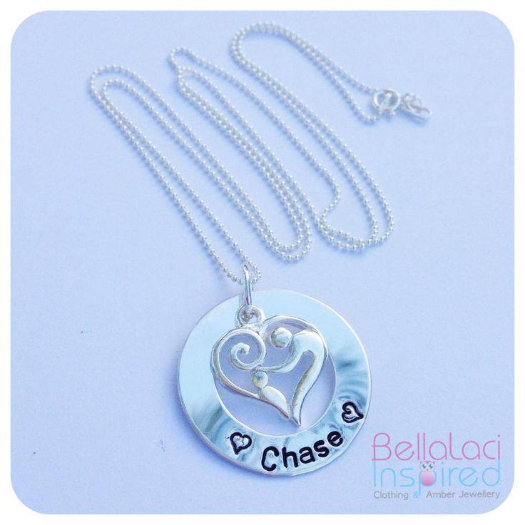 """BellaLaci Sterling Silver """"Mother & Child"""" Handstamped Necklace."""