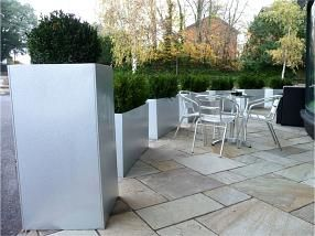 planters used as divider, paving, colours